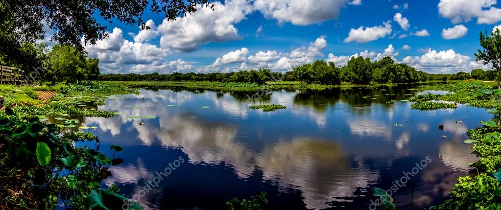 A High Resolution, Colorful, Panoramic Shot of Beautiful 40-Acre Lake in Texas