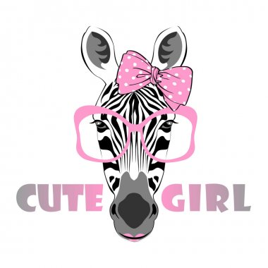 Zebra girl in pink glasses and bow