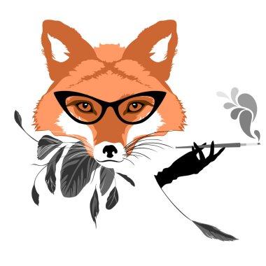 Fox girl in retro style
