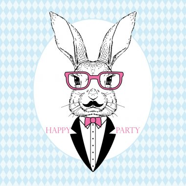 Fashion Illustration of Bunny Hipster