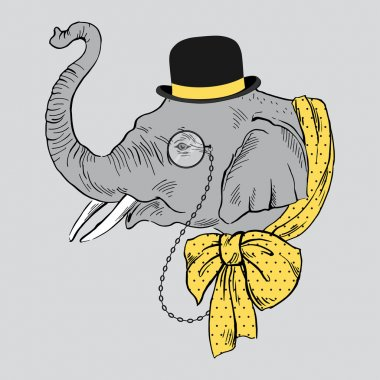 Portrait of Elephant in Bowler Hat, Monocle and Yellow Bow