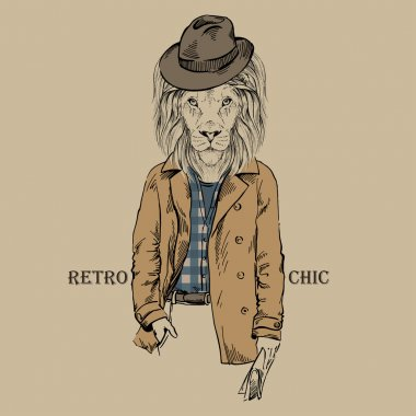 Hand Drawn Lion, Retro Style, City Style, Hipster Look, Vector Illustration clip art vector