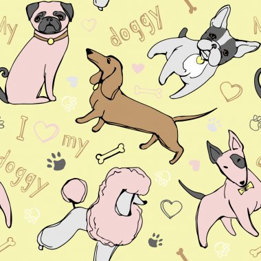 Seamless Pattern I Love my Doggy