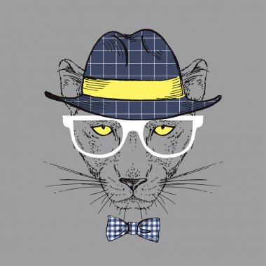 Fashion Illustration of Panther, Hipster Style