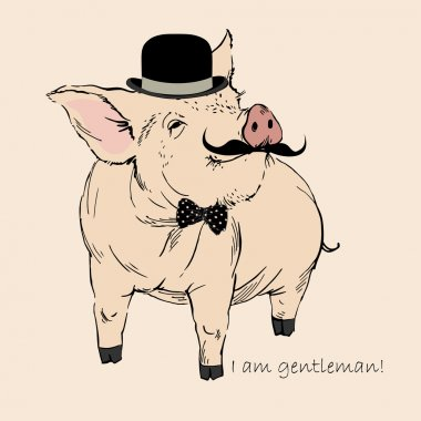 Cute Pig Gentleman in Bowler Hat and Mustache, Piggy Hipster