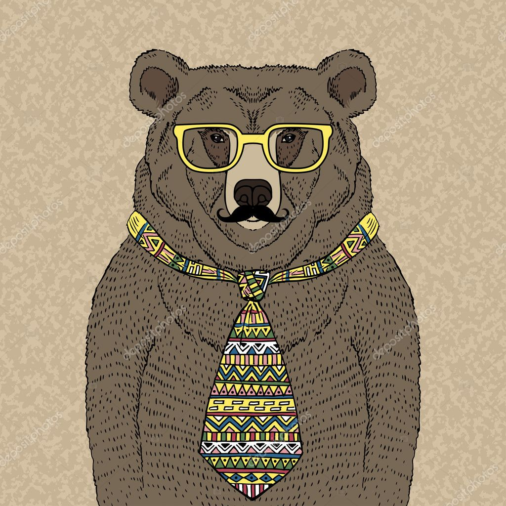 Hipster Bear in Tie and Glasses with Mustache