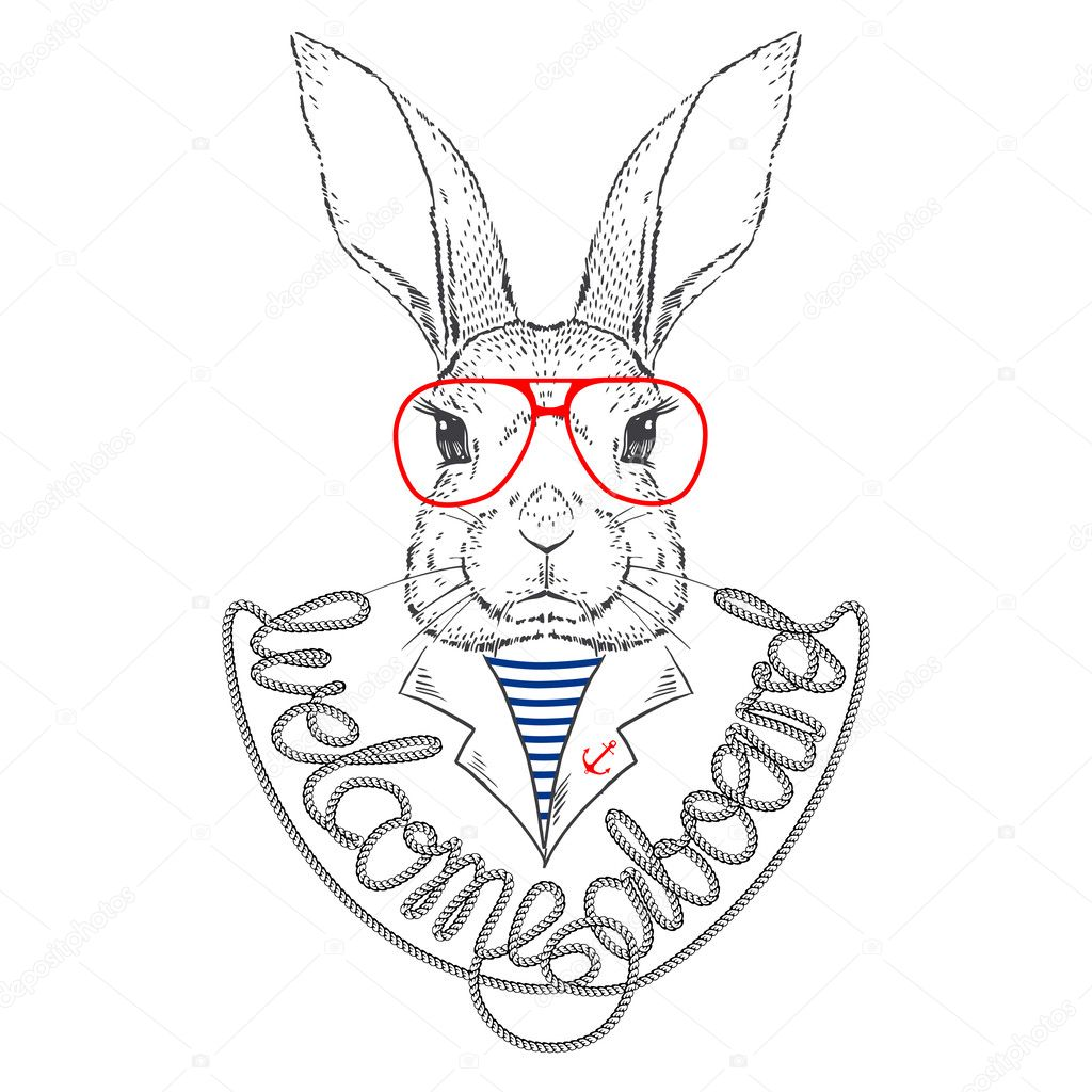 Vector Illustration of Bunny Sailor