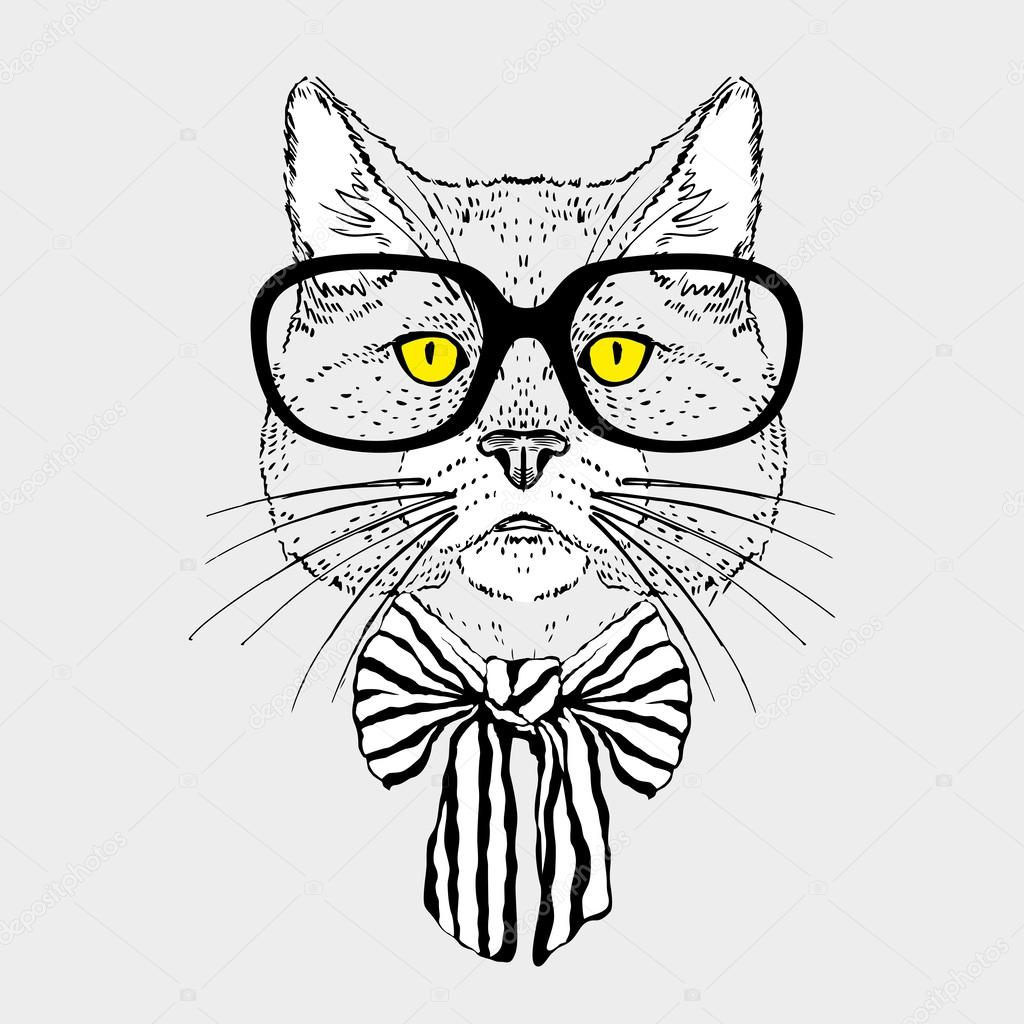 Fashion Portrait of Hipster Cat in Big Glasses and Striped Bow