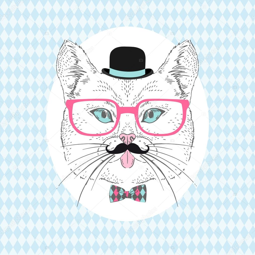 Cat Hipster with Mustache, Bowler Hat and Pink Glasses