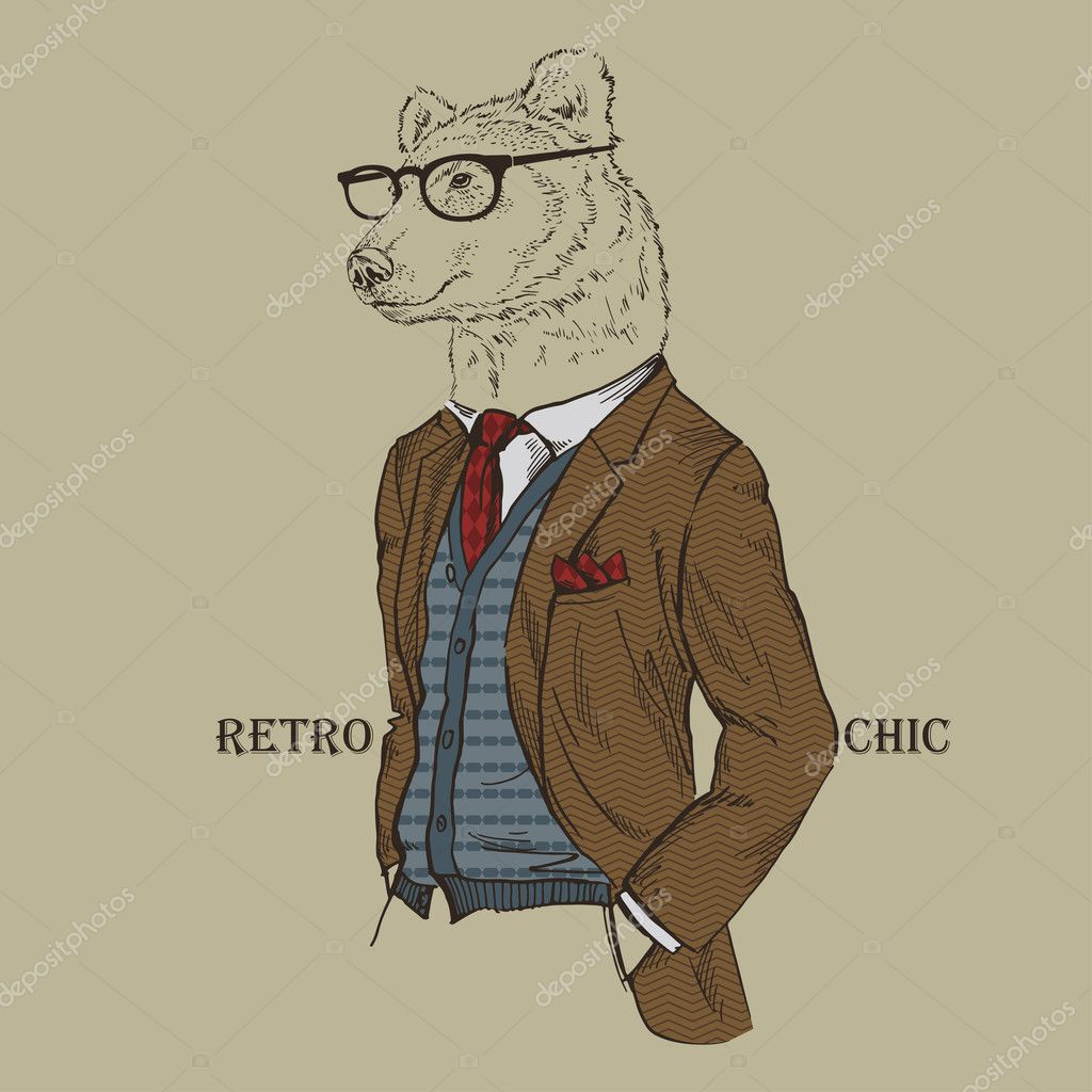 Fashion Illustration of Bear dressed in Vintage Style