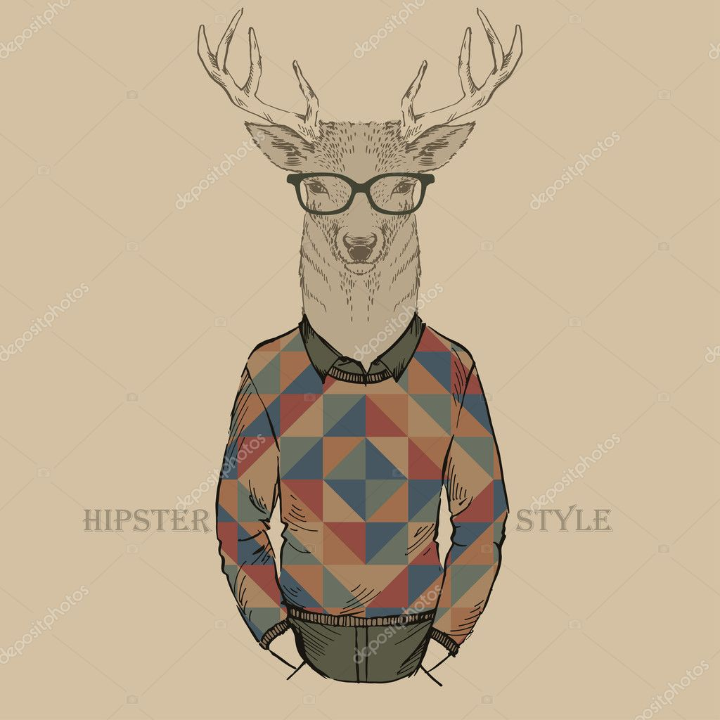 Cute fashion Hipster deer, vector illustration of deer port