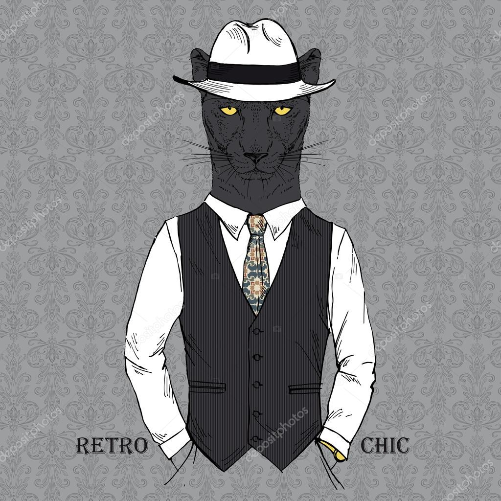 Fashion Illustration of Panther dressed in Vintage Style