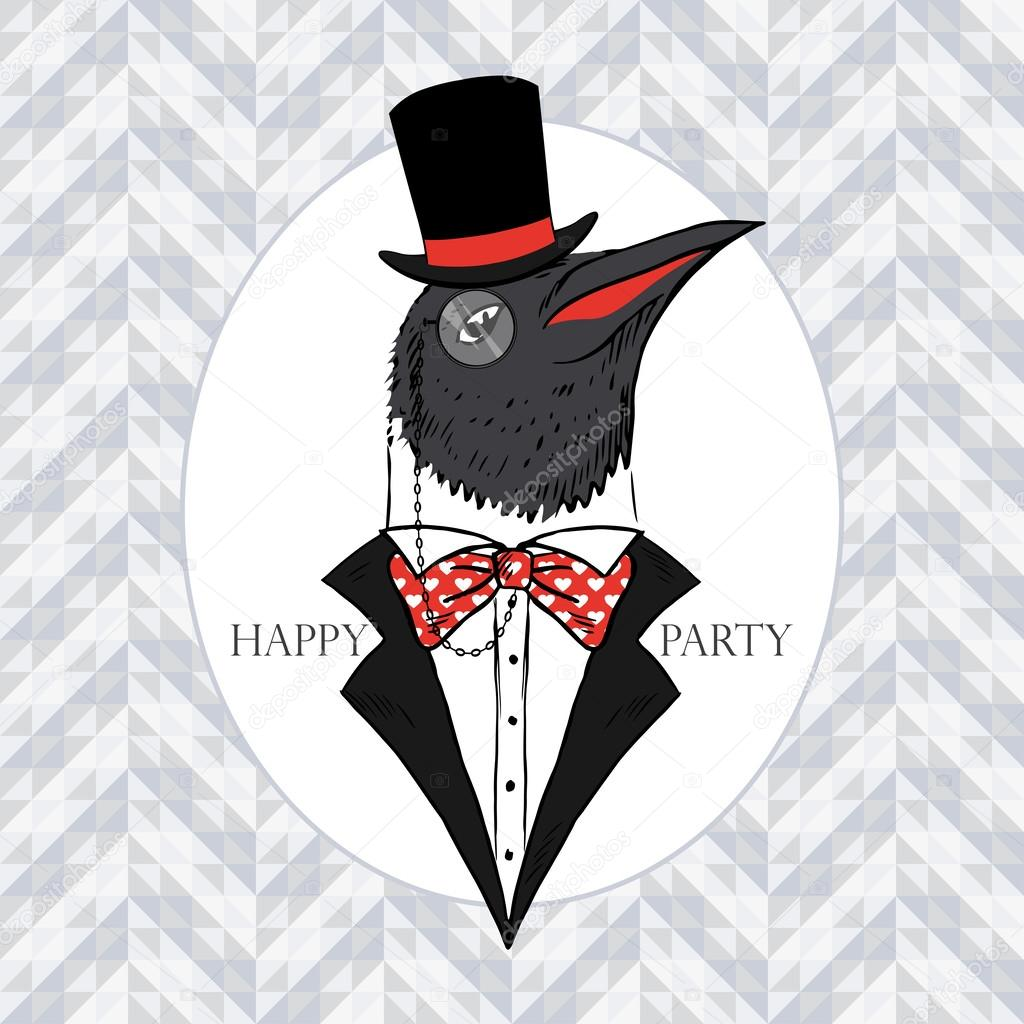 Hand Drawn Vector Portrait of Penguin in Tall Hat, Tuxedo and Monocle