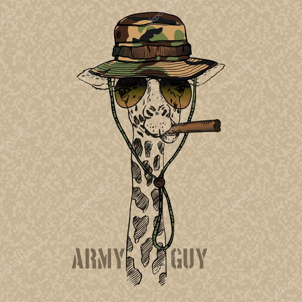 Illustration of Military Giraffe with Cigar