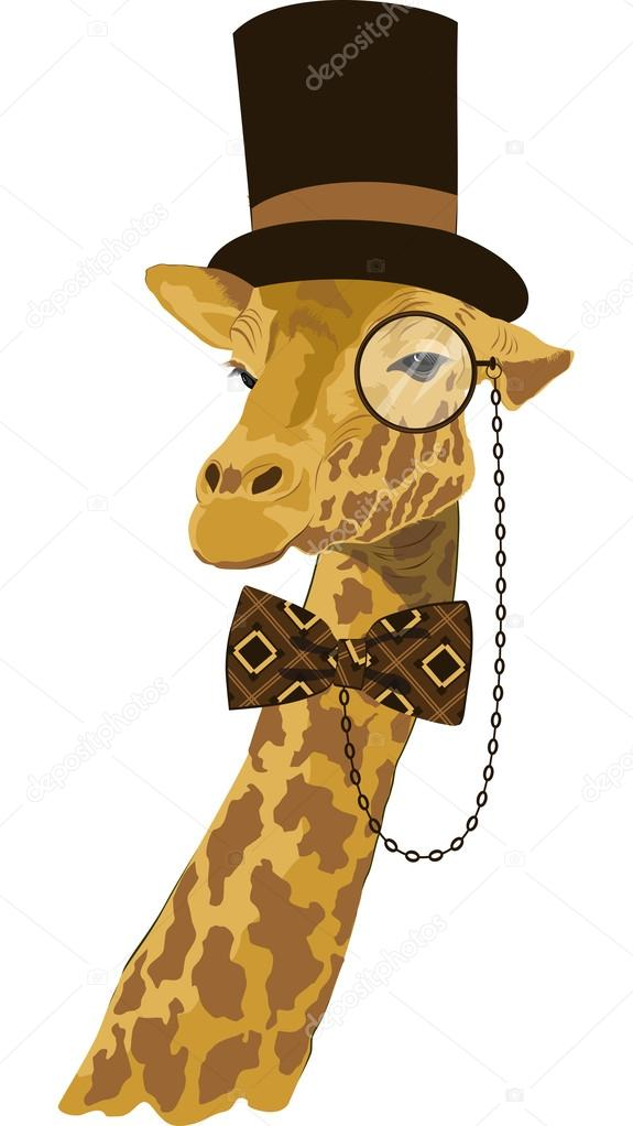 Portrait of giraffe in tall hat with printed bow tie and monocle