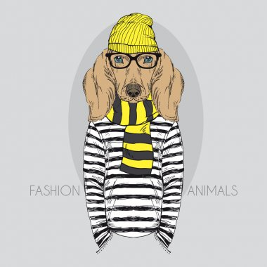 Illustration of Doggy Hipster in colors