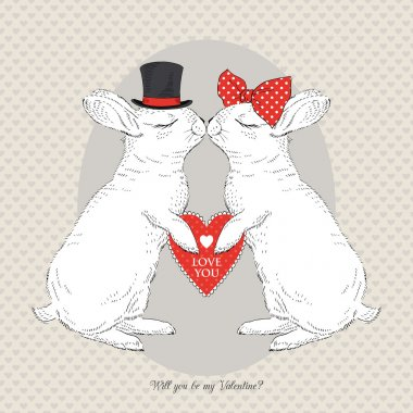 Hand Drawn Vector Portrait of Two St. Valentine's Bunny clip art vector