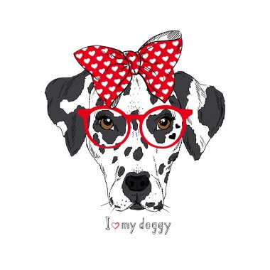 Hand Drawn Portrait of Dalmatian Girl in bow and glasses, Valentine greeting card
