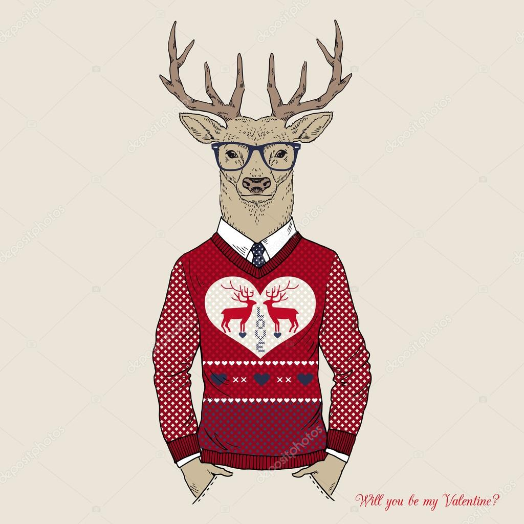 Hand Drawn Vector Illustration of Deer Hipster in Jacquard Sweater, Valentine's Day design