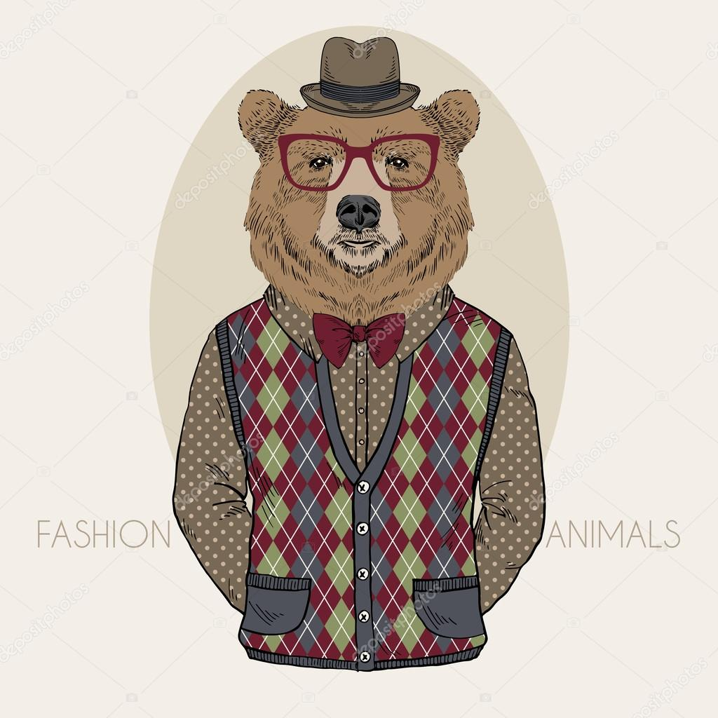 Hand Drawn Fashion Illustration of Bear in colors