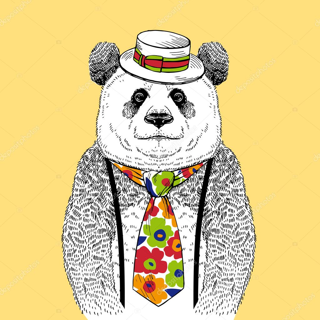 Hand Drawn Fashion Illustration of Panda in Colorful Tie and Straw Boater isolated on light background