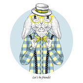 Ručně tažené módní ilustrace bunny bederní