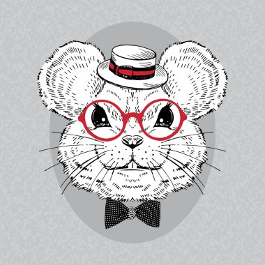 Portrait of Mouse in Boater and Retro Glasses