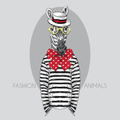 Photo Hand drawn fashion illustration of dressed up zebra