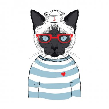 Hand drawn illustration of siamese cat sailor