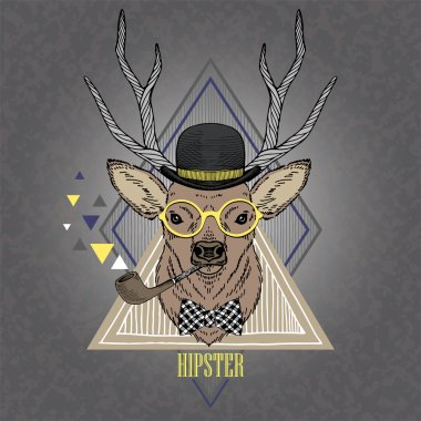 Hand Drawn portrait of hipster deer in geometric frame