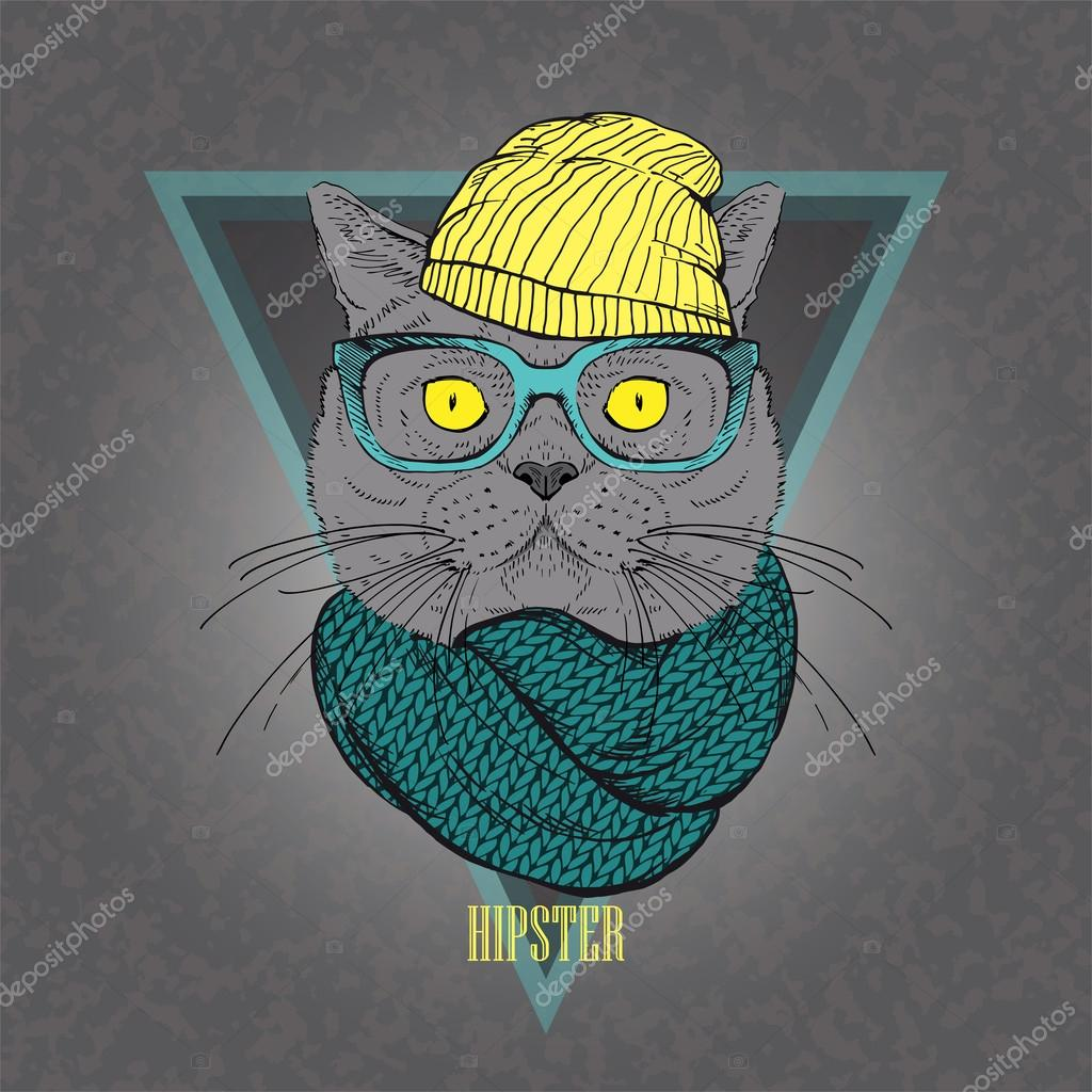 Hand Drawn portrait of hipster cat in geometric frame