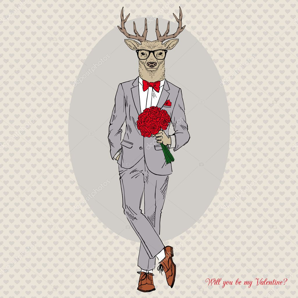 Hand drawn fashion illustration of dressed up elegant deer with bouquet of roses