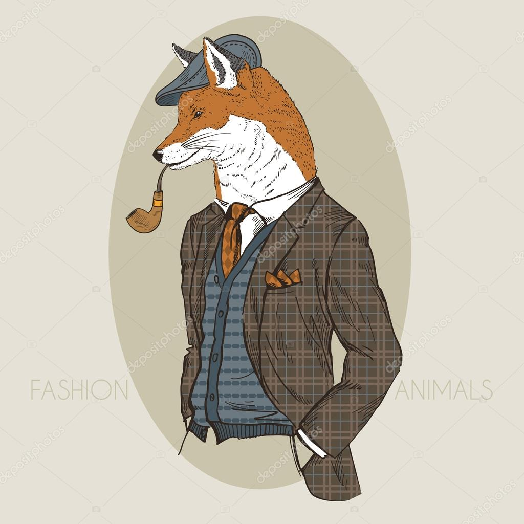Hand drawn fashion illustration of dressed up fox in colors