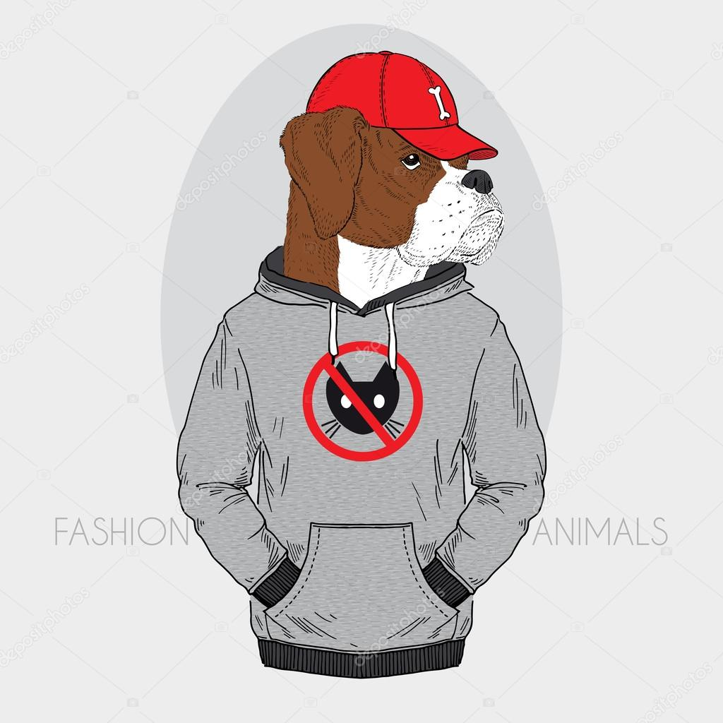Hand drawn fashion illustration of dressed up boxer