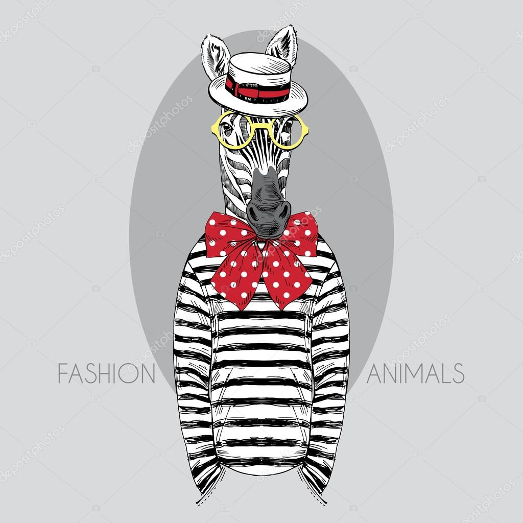 Hand drawn fashion illustration of dressed up zebra