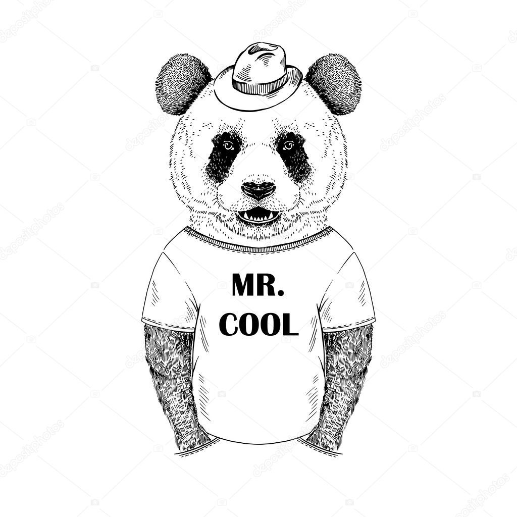 Hand drawn illustration of dressed up panda hipster