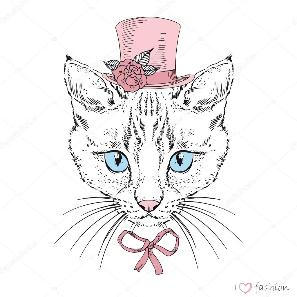 Hand drawn fashion portrait of cat