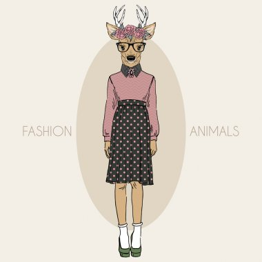 Deer hipster girl in colors