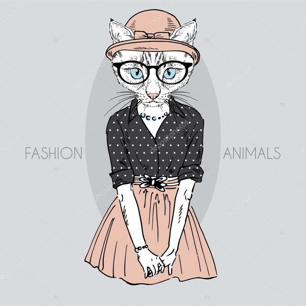 Cute cat girl in colors