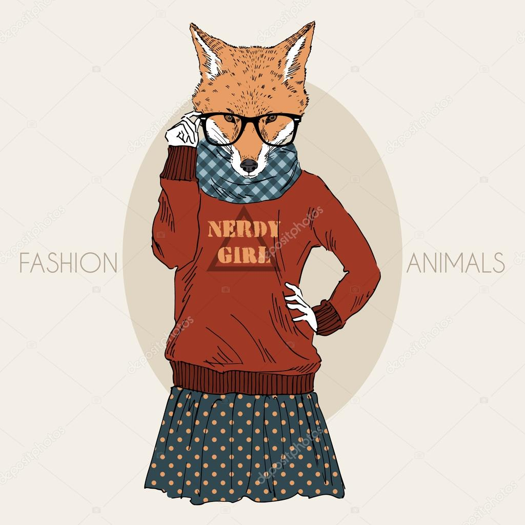 Dressed up nerdy fox girl in colors