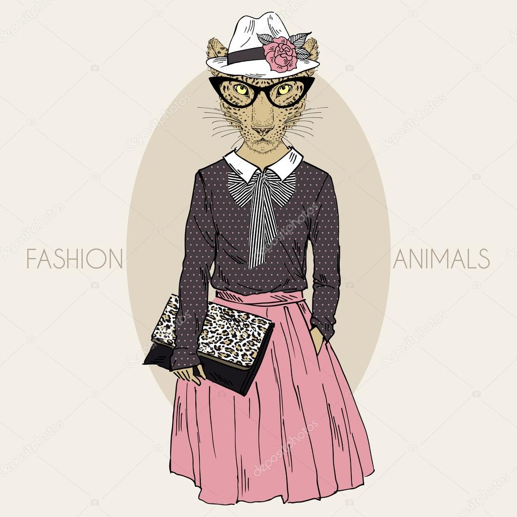 leopard girl hipster in colors