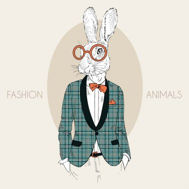 Bunny hipster dressed up in trendy plaid coat