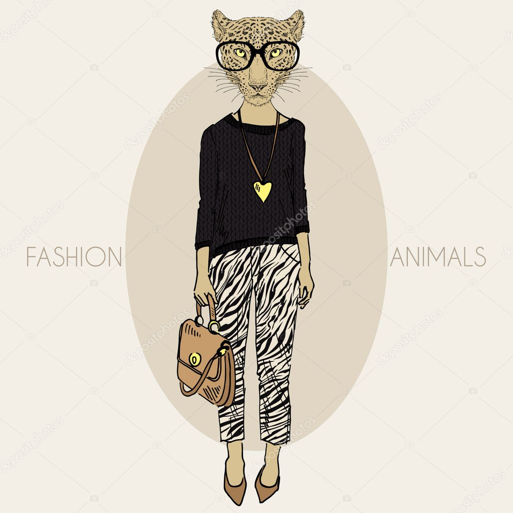 leopard girl dressed up in casual style