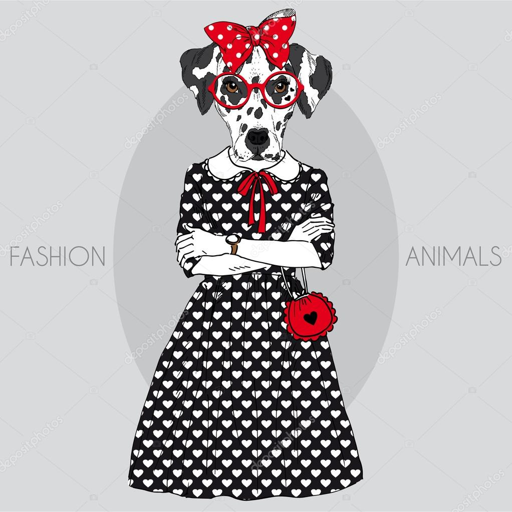 Fashion illustration of cute dalmatian girl