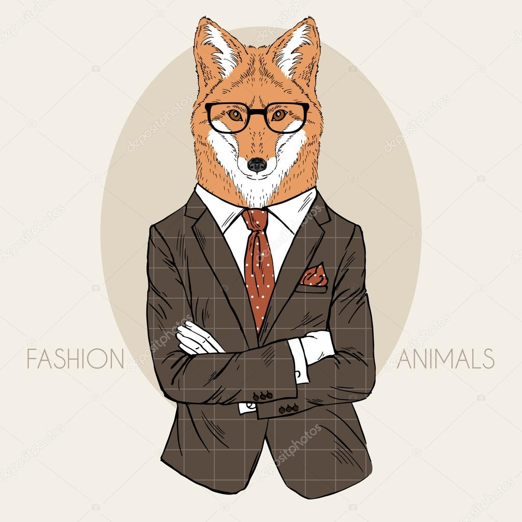 Illustration of fox in office suit