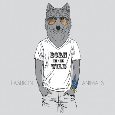 Illustration of wolf dressed up in t-shirt with quote stock vector
