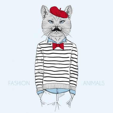 Cat dressed up in french style