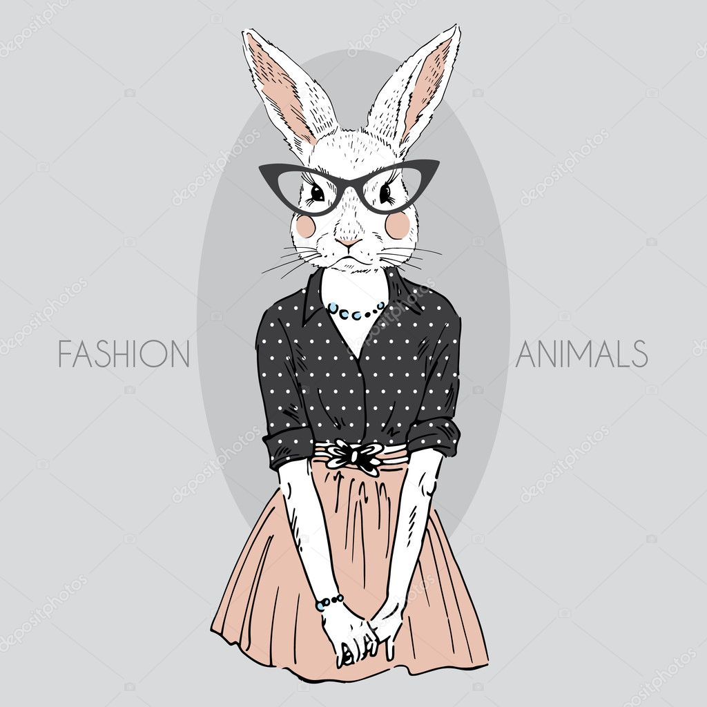 Dressed up bunny girl hipster