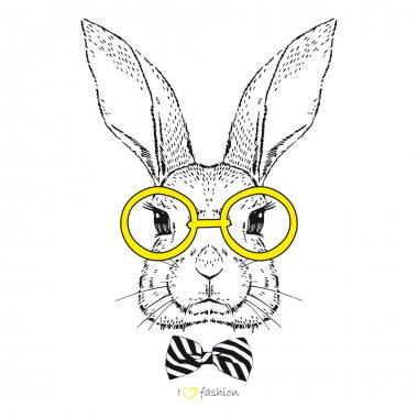 Hand drawn fashion bunny