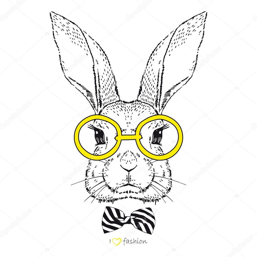 hand drawn fashion bunny u2014 stock vector olga angelloz 49007539